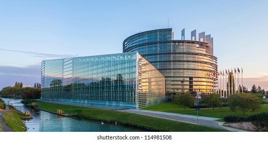 "STRASBOURG, FRANCE - SEPTEMBER 30: Building ""Louise Weiss"" of European Parliament on September 30, 2012 in Strasbourg, France. The building houses the Chamber of Parliament and Members' offices."