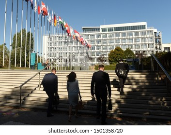 Strasbourg, France - September 4, 2019: People near the Palace of Europe (Palais de l'Europe) building in Strasbourg, France.