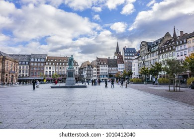 STRASBOURG, FRANCE - SEPTEMBER 5, 2017: View of Place Kleber. Place Kleber - largest square at the center of the city of Strasbourg was named after General Jean-Baptiste Kleber. World Heritage site.