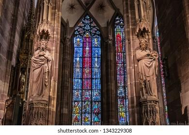 STRASBOURG, FRANCE - SEPTEMBER 5, 2017: Interior of Strasbourg Cathedral (Cathedral of Our Lady of Strasbourg or Cathedrale Notre-Dame de Strasbourg, 1439) - Roman Catholic cathedral.