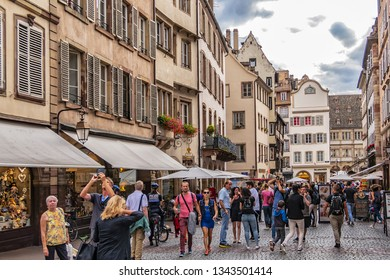 STRASBOURG, FRANCE - SEPTEMBER 5, 2017: Strasbourg Square Place de La Cathedrale near medieval Roman Catholic cathedral Notre-Dame de Strasbourg (Cathedral of Our Lady of Strasbourg, 1439).