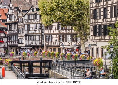 STRASBOURG, FRANCE - SEPTEMBER 5, 2017: Beautiful traditional colorful old houses in Petite France district in Strasbourg city.