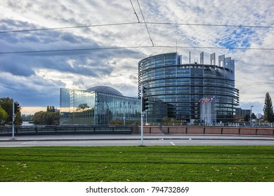 STRASBOURG, FRANCE - SEPTEMBER 5, 2017:  Exterior of European Parliament (1999) in Wacken district of Strasbourg. It is one of biggest and most visible buildings of Strasbourg.