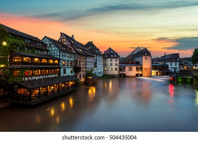 Strasbourg. Image of Petite France historic area of Strasbourg old town during twilight blue hour in France.