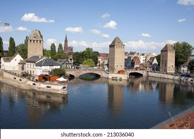 Strasbourg, medieval bridge Ponts Couverts and Cathedral, view from Barrage Vauban. Alsace, France.