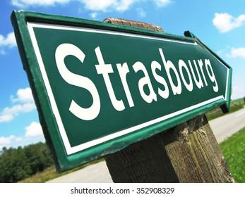 Strasbourg road sign