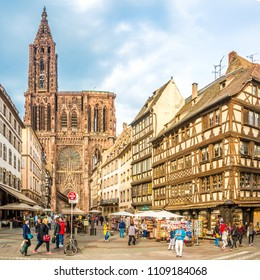 STRASBOURG,FRANCE - MAY 15,2018 - View at the Cathedral of Notre Dame in Strasbourg. Strasbourg is the capital and largest city of the Grand Est region of France .