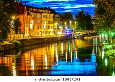 STRASBOURG,FRANCE-AUGUST 29,2018: view on the city Strasbourg at night.