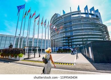 STRASBOURG,FRANCE-AUGUST 29,2018:European Parliament in Strasbourg.