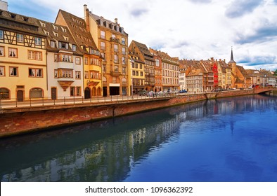 Strasburg city in Alsace France with the river