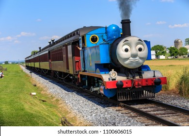 Strasburg, PA, USA – June 19, 2016: Thomas the Tank Engine chugs toward the train station in Strasburg, Lancaster County.