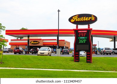 Strasburg, PA, USA - June 9, 2018: Rutter's is an American convenience store chain with over 80 locations in Pennsylvania and West Virginia.