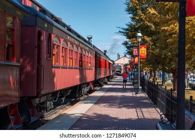 Strasburg, PA, USA - October 16, 2015: Passenger cars at the Strasburg Rail Road train station.