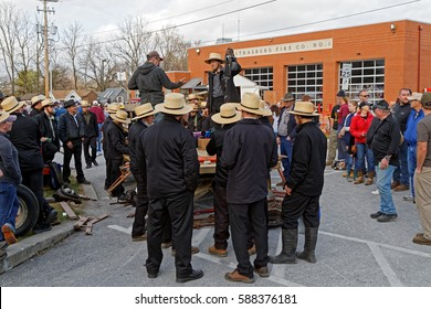 "STRASBURG PENNSYLVANIA - February 25, 2017: Annual Spring Sale ""Amish Mud Sale"" to benefit the Fire Company. Sale items include quilts, antiques, crafts, food, tools, farm equipment, and horses."