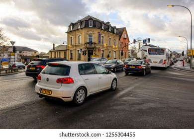 Strassen, Luxembourg - December 10, 2018: The busy traffic at the intersection of Route d'Arlon and Rue de Reckenthal