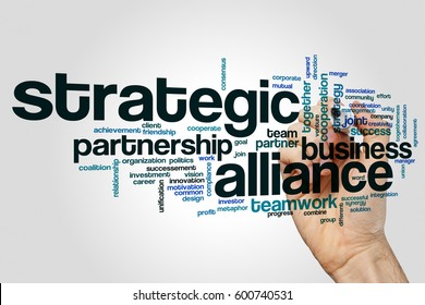 Strategic alliance word cloud concept on grey background