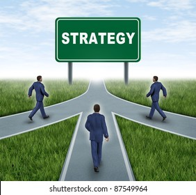 Strategic partnerships converging on the same road as a team sharing the same strategy and vision for the success of a company by working together by three roads merging together with business men.