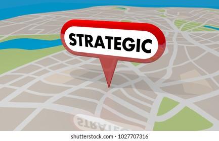 Strategic Planning Map Pin Property Development 3d Illustration