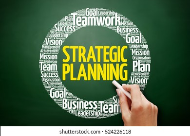 Strategic planning word cloud collage, business concept on blackboard