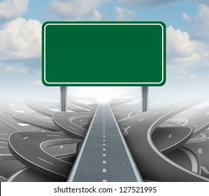 Strategy blank sign as a clear plan and solutions for business leadership with a straight path to success choosing the right strategic road with green highway signage with copy space.