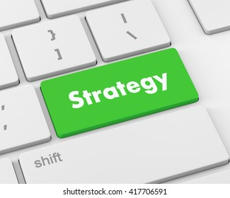 Strategy Concept. Button on Modern Computer Keyboard with Word Strategy on It, 3d rendering