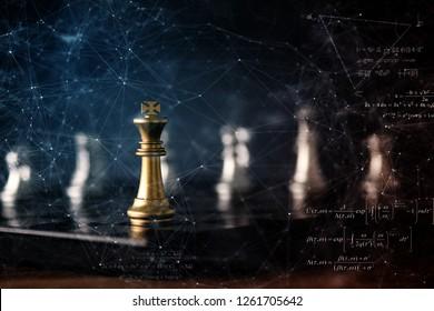 strategy ideas concept business futuristic graphic icon and golden chess board game black colot tone - Shutterstock ID 1261705642