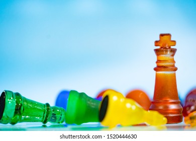 Strategy ideas concept business.Colorful chess board game on blue background.Concept for leadership and business marketing strategy.