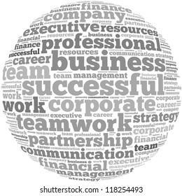 Strategy info-text graphics and arrangement concept on white background (word cloud)
