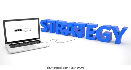 Strategy - laptop computer connected to a word on white background. 3d render illustration.
