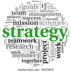 Strategy and management concept in word tag cloud on white background