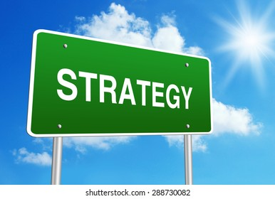 Strategy road sign with blue shiny sky background.