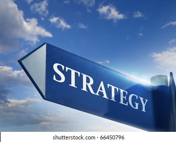 strategy road sign for business marketing and financial concepts