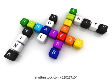 Strategy Success colorful box Crossword 3D render