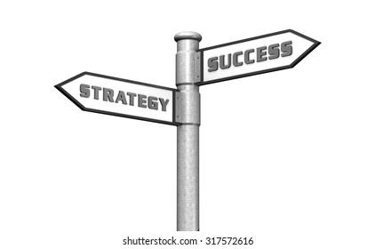 Strategy and Success Keywords Arrow