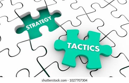Strategy Tactics Accomplish Goal Puzzle Pieces 3d Illustration