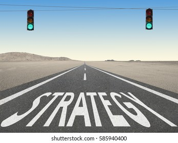 Strategy text on highway with green traffic light