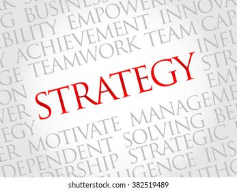 Strategy word cloud, business concept