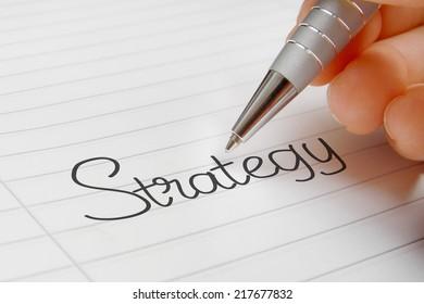 strategy word handwriting