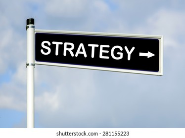 Strategy word on road sign on sky background