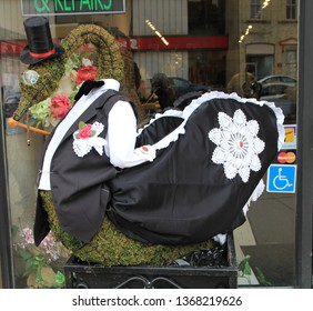 STRATFORD - APRIL 07, 2019: Decoration at Swans Parade in April 07, 2019 in Stratford, Canada