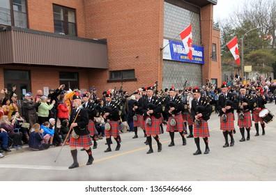 STRATFORD - APRIL 07, 2019: Orchestra at Swans Parade in April 07, 2019 in Stratford, Canada