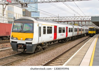 STRATFORD, LONDON, UK - APRIL 6, 2013: Greater Anglia Class 321 No's. 321438 and 321308 pulls out of Stratford Station, working the 2F27 10:35 Colchester Town to Liverpool Street service.