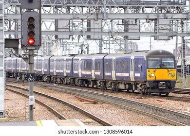 STRATFORD, LONDON, UK - APRIL 6, 2013: Greater Anglia Class 360 No. 360119 approaches Stratford Station with the 2F42 London Liverpool Street to Colchester Town service.