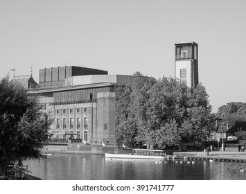 STRATFORD UPON AVON, UK - SEPTEMBER 26, 2015: Royal Shakespeare Theatre on River Avon in Shakespeare birth town in black and white