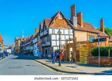 STRATFORD UPON AVON, UNITED KINGDOM, APRIL 8, 2017: People are strolling next to the New Place of William Shakespeare in Stratford upon Avon, England