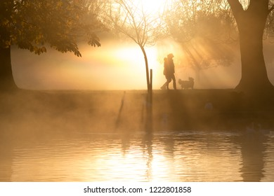 Stratford Upon Avon Warwickshire England November 24th 2018 early morning sun seen through mist on the Avon