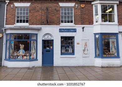Stratford upon Avon Warwickshire UK February 2018 Beatrix Potter Timeless Tales Peter Rabbit Shop