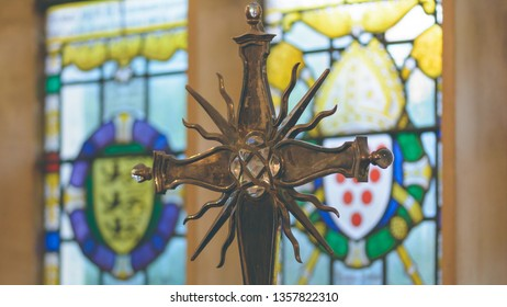 Stratford-upon-Avon, England - April 1, 2019: The Guild Chapel - Altar Cross close up, shallow depth of field