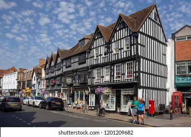 STRATFORD-UPON-AVON, ENGLAND - August 6, 2018: Tudor style buiildings in the High Street at Stratford, Shakespeare's home town.