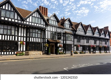STRATFORD-UPON-AVON, ENGLAND - August 6, 2018: The Tudor-style 17th Century Mercure Shakespeare Hotel in Chapel Street, Stratford-upon-Avon.